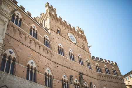 Building facade on the main square in Sienna