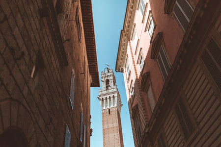 View of old buildings and the Mangia Tower in Sienna