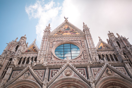 French Gothic architecture facade of Sienna Cathedral