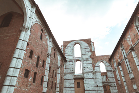 Sienna Cathedral brick wall under construction
