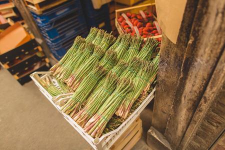 Green asparagus on sale at Sienna market