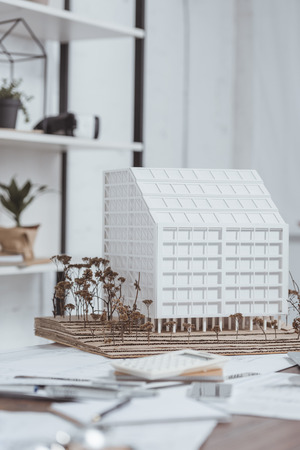 Close up view of building model at workplace in office 版權商用圖片