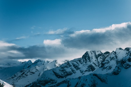 Amazing snow-capped mountain peaks in Mayrhofen, Austria