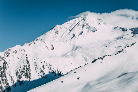 Majestic landscape with snow-capped mountains in Mayrhofen ski area, Austria