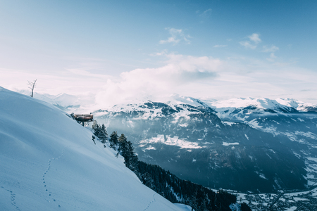 Beautiful snow-covered mountain peaks in Mayrhofen, Austria 写真素材