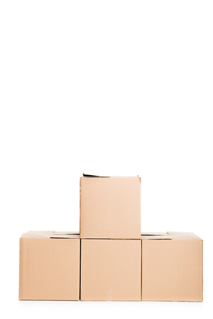 stack of cardboard boxes, isolated on white Standard-Bild - 112309140