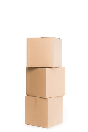 stacked cardboard boxes, isolated on white Standard-Bild - 112309730