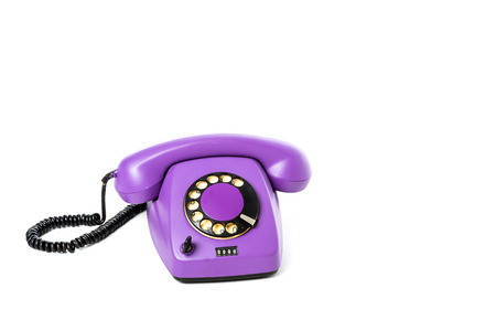 close-up view of purple rotary telephone isolated on white Stock Photo