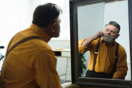 handsome bearded senior man adjusting moustache and looking at mirror Banco de Imagens