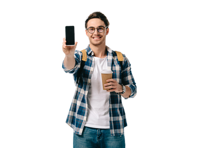 handsome student showing smartphone isolated on white