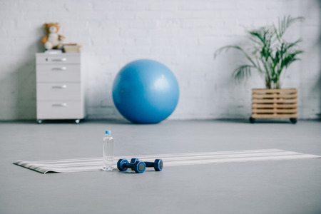 yoga mat, dumbbells, plastic bottle of water and fitness ball in living room