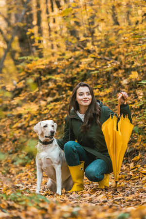 Happy young woman with yellow umbrella siting with dog in autumnal forest Stock Photo