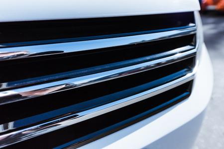 Close up of white new car bumper on street 版權商用圖片