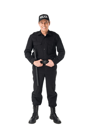 Handsome policeman wearing uniform isolated on white background Stock Photo