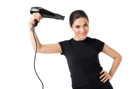 Professional hairdresser using blow dryer isolated on white background