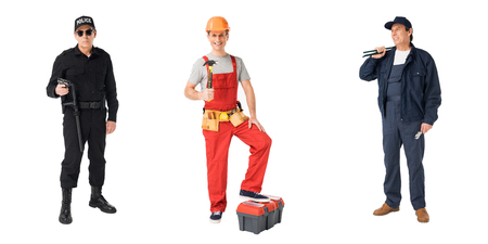 Collage with male professions policeman, builder and plumber isolated on white background Zdjęcie Seryjne