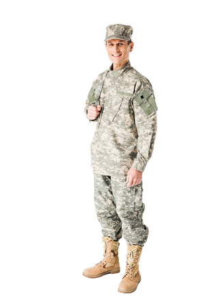 Smiling army soldier in uniform isolated on white background