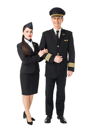 Airline crew stewardess and pilot isolated on white background