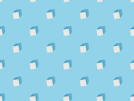 White sweet sugar cubes seamless pattern Stock Photo
