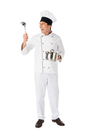 Smiling chef with pan and ladle isolated on white background Banque d'images - 111669127