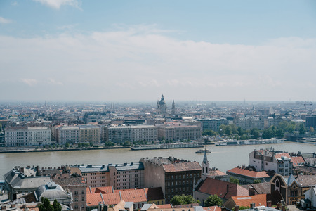 River and two sides of city in Budapest, Hungary Stock Photo