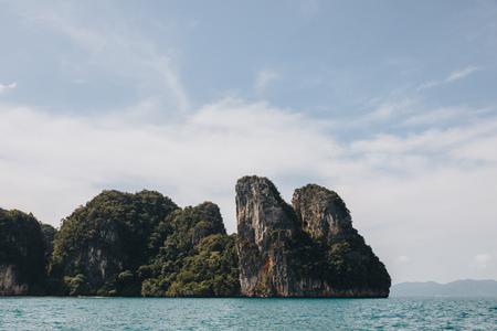 Beautiful scenic cliffs in ocean at Krabi, Thailand