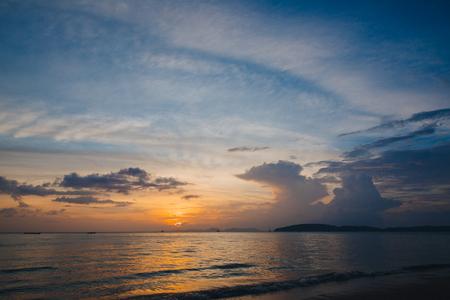 Beautiful scenic seascape at sunset, Krabi, Thailand Stock Photo