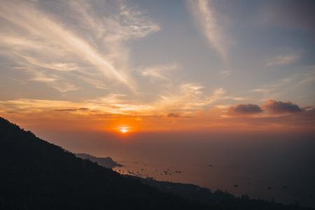 Majestic landscape with seascape at sunset, Ko Tao island, Thailand