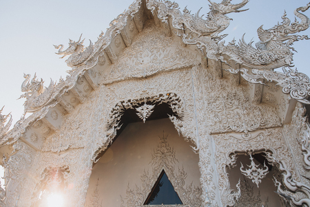 Beautiful architecture of Wat Rong Khun White Temple, Chiang Rai, Thailand
