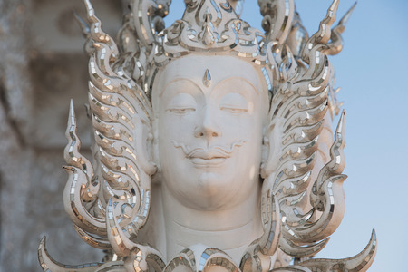 Close-up view of statue on Wat Rong Khun White Temple, Chiang Rai, Thailand