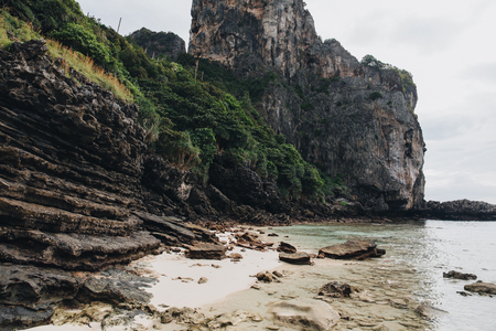 Beautiful landscape at sandy beach with rocks at Phi-Phi island, Thailand