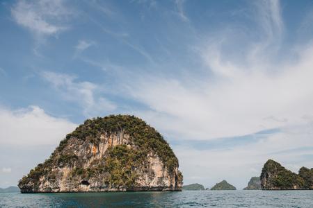 Majestic landscape with cliffs in calm ocean at Krabi, Thailand