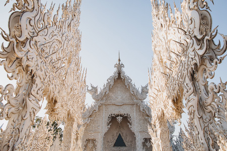 Beautiful decorative architecture of Wat Rong Khun White Temple, Chiang Rai, Thailand 写真素材