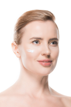 Woman with cream on face isolated on white background Stock fotó