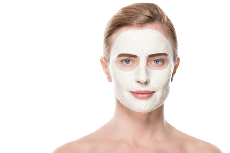 Female with facial skincare mask isolated on white background