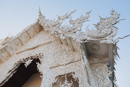 Decorative architecture of Wat Rong Khun White Temple, Chiang Rai, Thailand