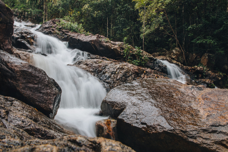 Beautiful rapid river and rocks in tropical forest at Ko Pha-ngan island, Thailand Zdjęcie Seryjne