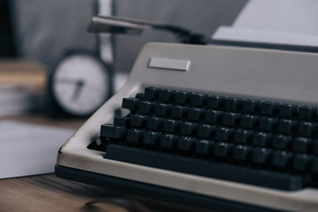 Close-up shot of typewriter on work desk