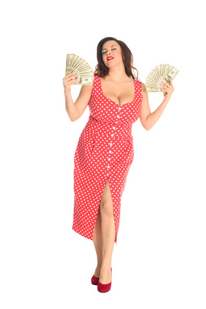 Satisfied beautiful plus size woman with lot of cash isolated on white background Stock fotó