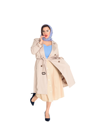 Beautiful plus size woman in stylish trench coat and kerchief isolated on white background Stok Fotoğraf