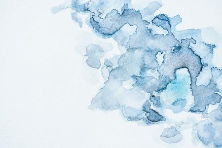 Abstract wallpaper with blue watercolor blots 版權商用圖片