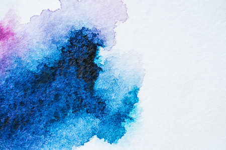 abstract bright blue watercolor painting on white paper 版權商用圖片