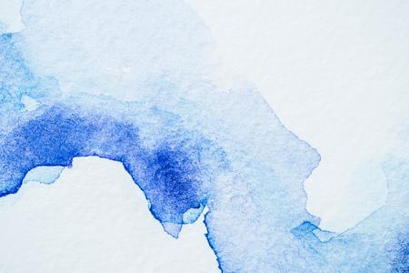 Creative blue watercolor painting on white paper 版權商用圖片