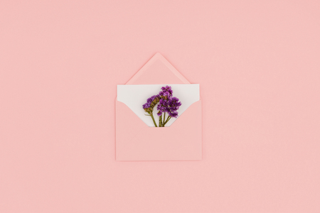 top view of open pink envelope with white card and small purple flowers isolated on pink Stock Photo