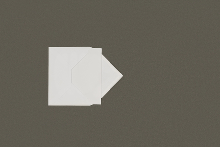 top view of open white envelope with blank card isolated on grey background Reklamní fotografie