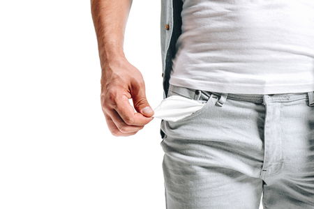cropped image of man showing empty pocket isolated on white Imagens - 112268945