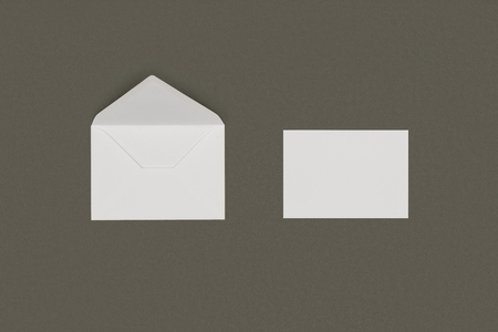 close-up view of open white envelope and blank card isolated on grey background Stock Photo - 112221938