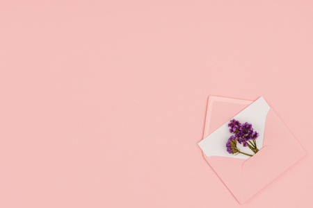 top view of open pink envelope with white card and small purple flowers isolated on pink background