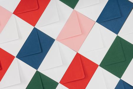 full frame background of colorful closed envelopes Imagens