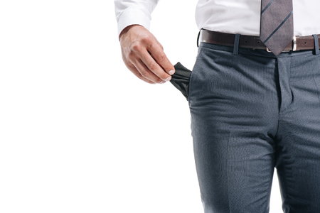 cropped image of businessman man showing empty pocket isolated on white Banco de Imagens